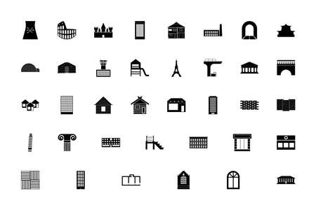 Architecture black color set solid style vector illustration
