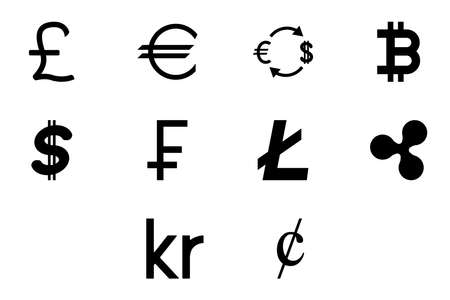 Money symbol black color set solid style vector illustration