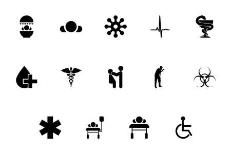Medical symbol treatment concept black color set outline solid style vector illustration