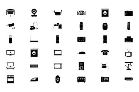 Consumer electronics black color set solid style vector illustration