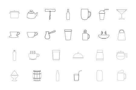 Container for storing drinks and food black color set outline style vector illustration
