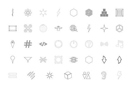 Shape symbol sing web black color set outline style vector illustration