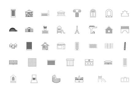 Architecture black color set outline style vector illustration Ilustração