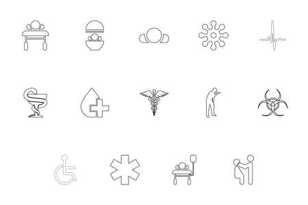 Medical symbol treatment concept outline black color set solid style vector illustration