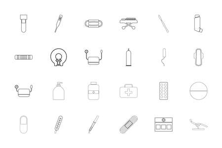 Medical objects black color set outline solid style vector illustration