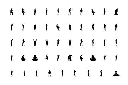 Silhouette concept people man black color set solid style vector illustration Ilustração