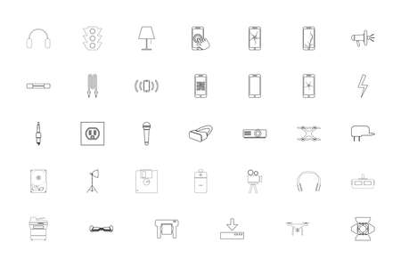 Electronics black color set outline style vector illustration