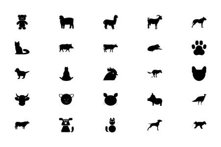 Pets farm animals black color set solid style vector illustration