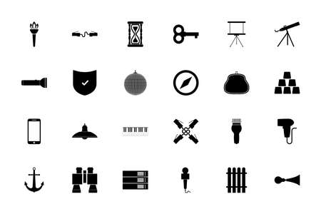 Web tools black color set solid style vector illustration