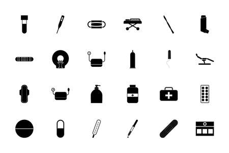 Medical objects black color set solid style vector illustration