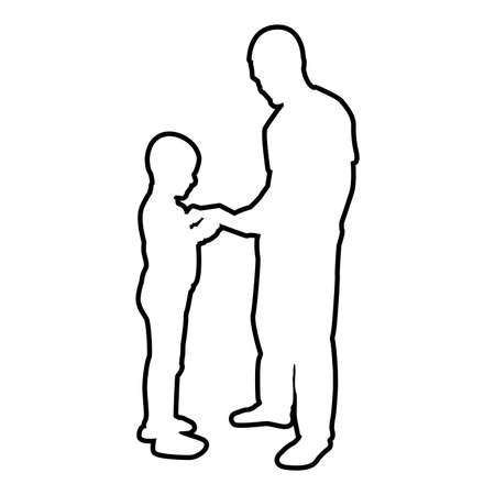 Man transmits thing to boy Father Male give book gadget smartphone son children take something Dad relationship Family concept Child friendship toddler daddy contour outline black color vector illustration flat style simple image Ilustração