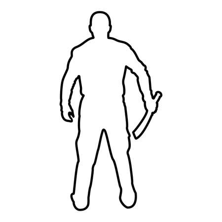 Man with sword machete Cold weapons in hand military man Soldier Serviceman in positions Hunter with knife Fight poses Strong defender Warrior concept Weaponry Stand View from rear Terrible and scary contour outline black color vector illustration flat style simple image