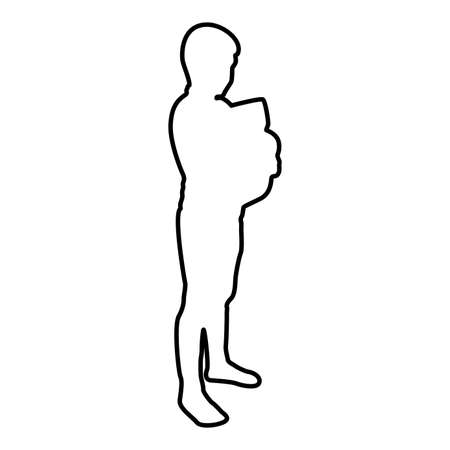 Boy hugs pillow arm Child holds cushion hugging hands Preschool hug Cute brother standing Son stand Children happy Kid going to bed Person bedtime concept Sleep snuggle idea View side contour outline black color vector illustration flat style simple image