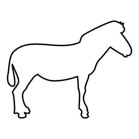 Zebra stand Animal standing contour outline black color vector illustration flat style simple image