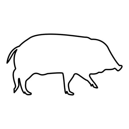 Wild boar Hog wart Swine Suidae Sus Tusker Scrofa contour outline black color vector illustration flat style simple image