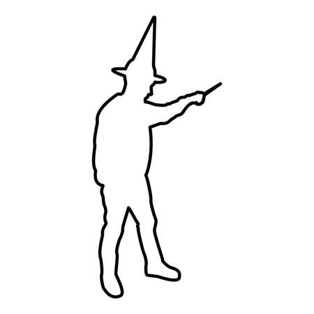 Wizard holds magic wand trick Waving Sorcery concept Magician Sorcerer Fantasy person Warlock man in robe with magical stick Witchcraft in hat mantle Mage conjure Mystery idea Enchantment contour outline black color vector illustration flat style simple image Ilustração