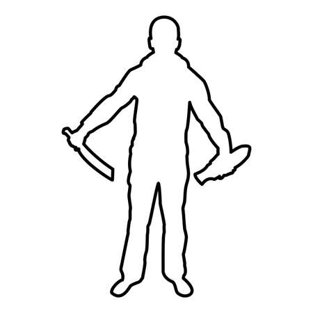 Man with sword machete remove sheath scabbard Cold weapons in hand military man Soldier Serviceman in positions Hunter with knife Fight poses Strong defender Warrior concept Weaponry Stand contour outline black color vector illustration flat style simple image