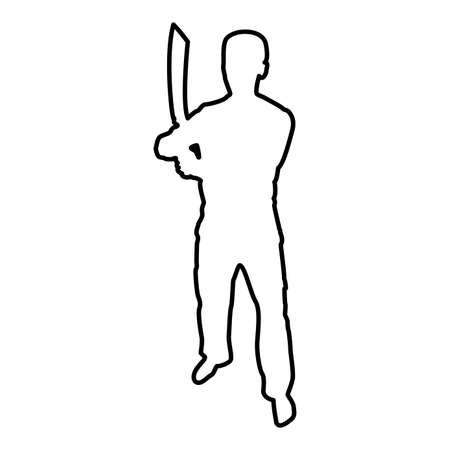 Man with sword machete Cold weapons in hand military man Soldier Serviceman in positions Hunter with knife Fight poses Strong defender Warrior concept Weaponry Stand contour outline black color vector illustration flat style simple image Ilustração