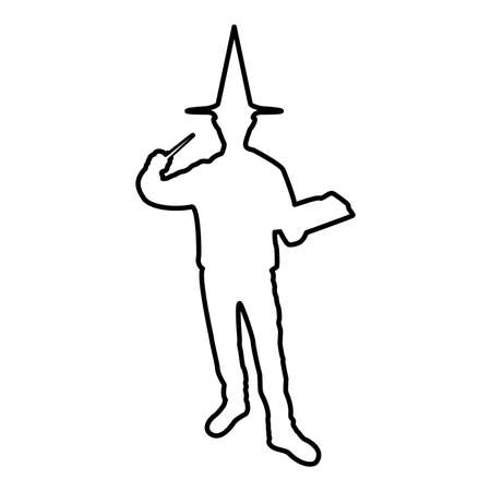 Wizard holds magic wand trick book Waving Sorcery concept Magician Sorcerer Fantasy person Warlock man in robe with magical stick Witchcraft in hat mantle Mage conjure Mystery idea Enchantment contour outline black color vector illustration flat style simple image Ilustração