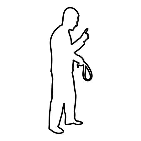 Angry man with belt in hand for punishment warns showing index finger Violence in family concept Abuse idea Domestic trouble Fury male threatening victim Social problem Husband father emotionally aggression against human Bullying contour outline black color vector illustration flat style simple image