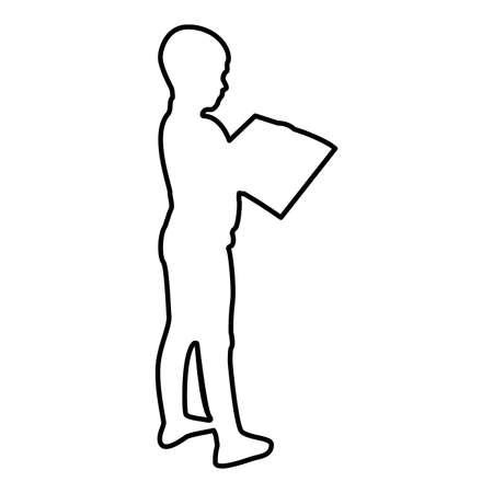 Boy reading book standing Teen male with open book in his hands Cute schoolboy read Ready to back to school concept Education online learning contour outline black color vector illustration flat style simple image