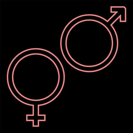 Neon venus and mars symbol it is the red color vector illustration flat style light image Foto de archivo - 168165032