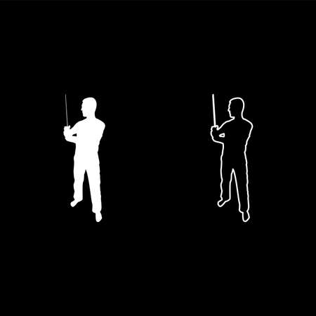 Man with sword machete Cold weapons in hand military man Soldier Serviceman in various positions Hunter with knife Fight poses Strong defender Warrior concept Weaponry Standing silhouette white color vector illustration solid outline style simple image