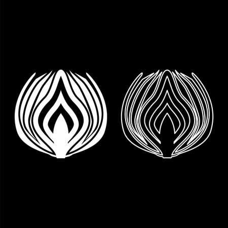 Onion cut in half part Bulbs chopped sliced vegetable silhouette white color vector illustration solid outline style simple image