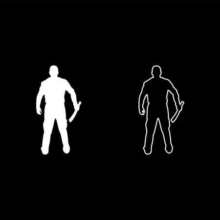 Man with sword machete Cold weapons in hand military man Soldier Serviceman in various positions Hunter with knife Fight poses Strong defender Warrior concept Weaponry Standing View from rear Terrible and scary silhouette white color vector illustration solid outline style simple image