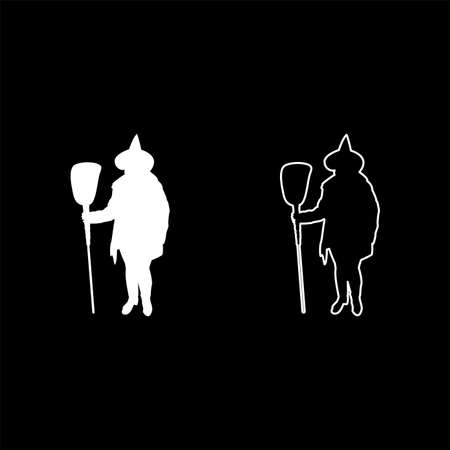 Fairy Wizard Witch holding broom Subject for Halloween concept silhouette white color vector illustration solid outline style simple image