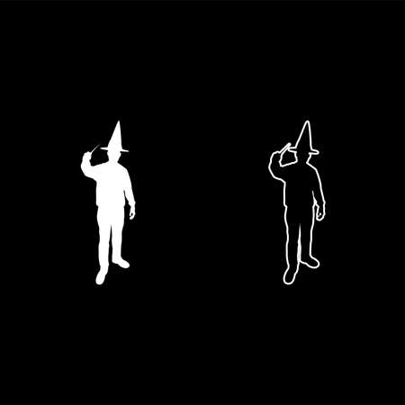 Wizard holds magic wand trick Waving Sorcery concept Magician Sorcerer Fantasy person Warlock man in robe with magical stick Witchcraft in hat mantle Mage conjure Mystery idea Enchantment silhouette white color vector illustration solid outline style simple image