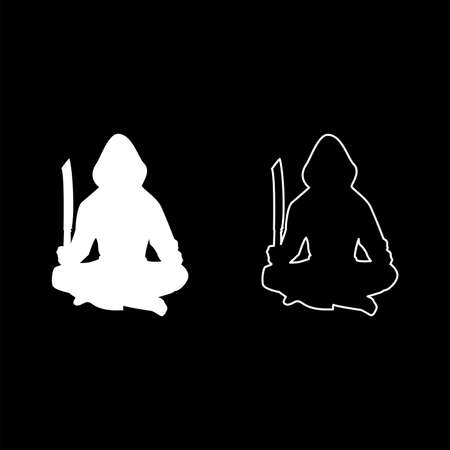 Man with sword machete Cold weapons in hand military man Soldier Serviceman in various positions Hunter with knife Fight poses Strong defender Warrior concept Weaponry Lotus Pose silhouette white color vector illustration solid outline style simple image