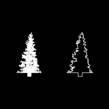 Fir tree Christmas Coniferous Spruce Pine forest Evergreen woods Conifer silhouette white color vector illustration solid outline style simple image