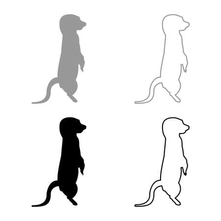 Meerkat in pose Suricata Suricatta silhouette grey black color vector illustration solid outline style simple image