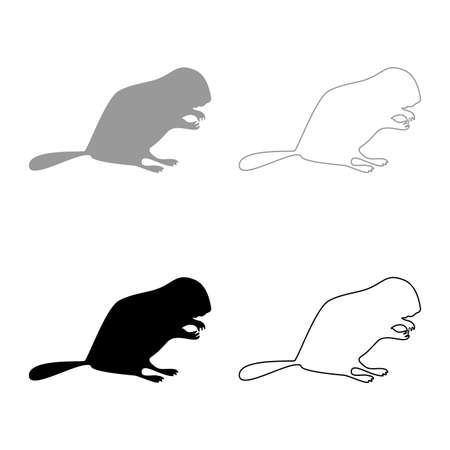 Beaver animal Rodent stand silhouette grey black color vector illustration solid outline style simple image 矢量图像