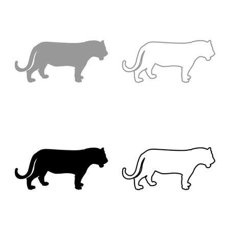Tiger silhouette grey black color vector illustration solid outline style simple image 矢量图像