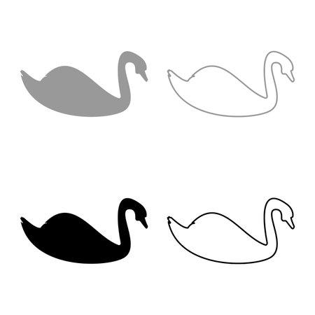 Swan bird Waterbird silhouette grey black color vector illustration solid outline style simple image 矢量图像