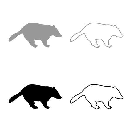 Badger animal wild Meles Taxus predatory mammal family kunihih Carnivore silhouette grey black color vector illustration solid outline style simple image