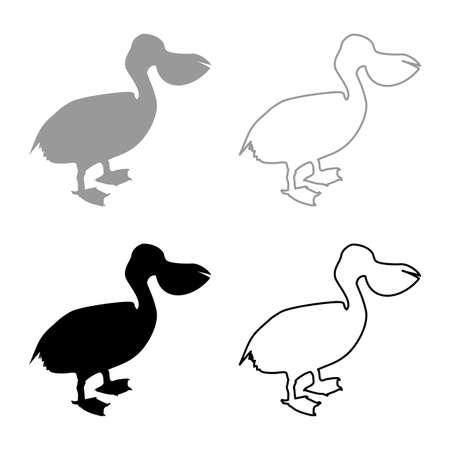 Pelican bird Seabird Waterbird silhouette grey black color vector illustration solid outline style simple image