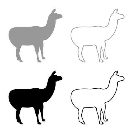 Alpaca Llama Lama Guanaco silhouette grey black color vector illustration solid outline style simple image