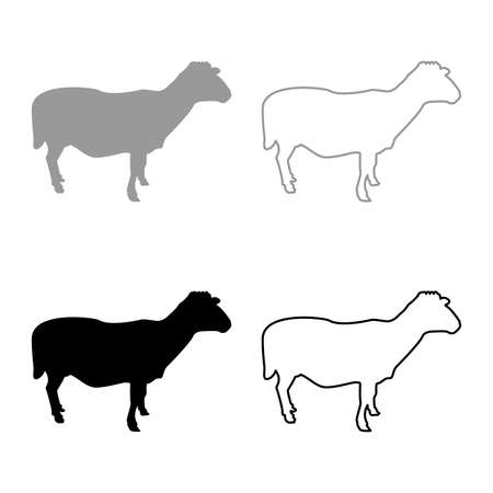 Sheep Ewe Domestic livestock Farm animal cloven hoofed Lamb cattle silhouette grey black color vector illustration solid outline style simple image