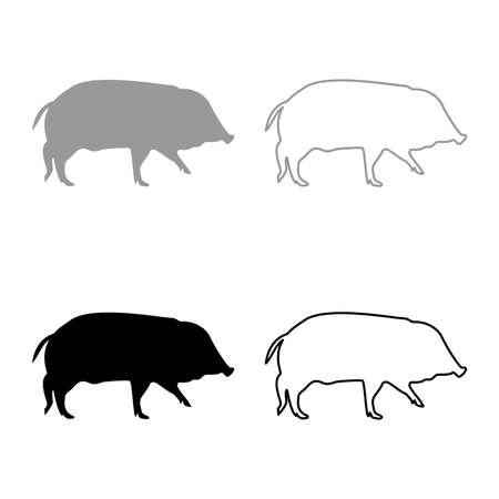 Wild boar Hog wart Swine Suidae Sus Tusker Scrofa silhouette grey black color vector illustration solid outline style simple image