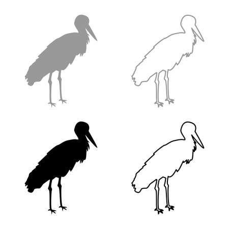 Stork Bird standing Crane Heron silhouette grey black color vector illustration solid outline style simple image