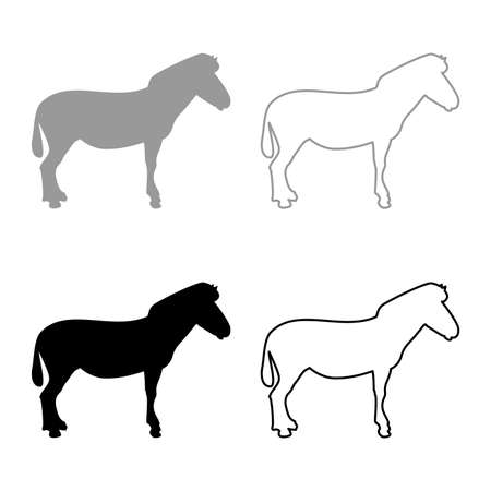 Zebra stand Animal standing silhouette grey black color vector illustration solid outline style simple image