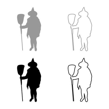 Fairy Wizard Witch holding broom Subject for Halloween concept silhouette grey black color vector illustration solid outline style simple image 矢量图像