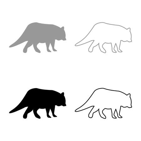 Raccoon Coon silhouette grey black color vector illustration solid outline style simple image