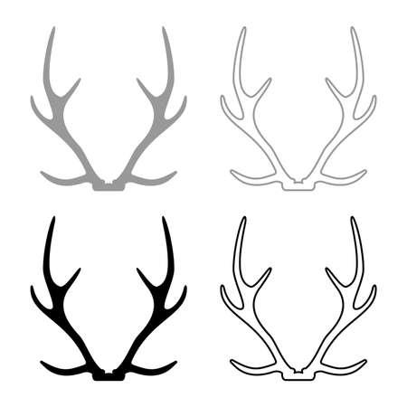 Antler Horn Concept trophy silhouette grey black color vector illustration solid outline style simple image