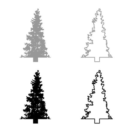Fir tree Christmas Coniferous Spruce Pine forest Evergreen woods Conifer silhouette grey black color vector illustration solid outline style simple image 矢量图像