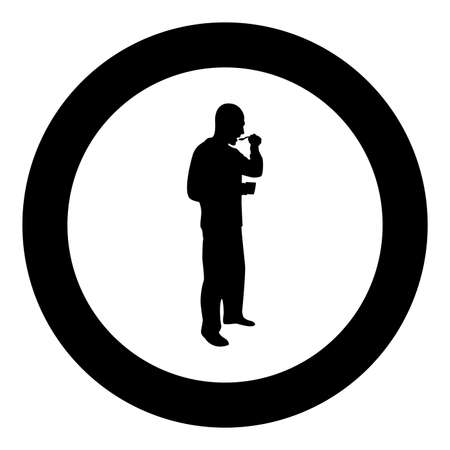 Man trying food from spoon standing Tasting concept Gourmet tries dish Chef trying silhouette in circle round black color vector illustration solid outline style simple image