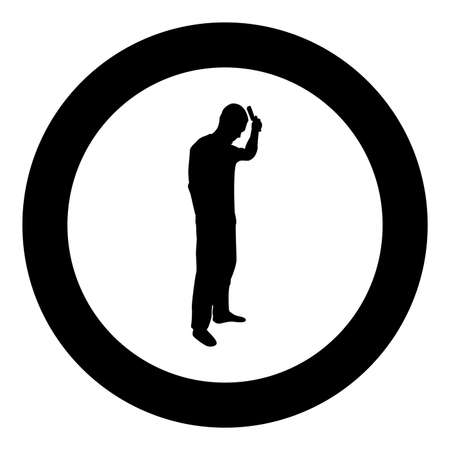 Man is combing hair use hairbrush Side view silhouette in circle round black color vector illustration solid outline style simple image